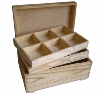 Pine Wood Jewellery Box With Removable 2 x 6 Compartment Trays